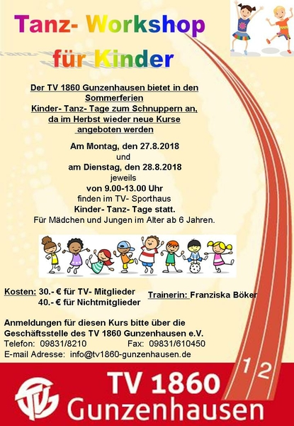 Tanz Workshop für Kinder Aug18